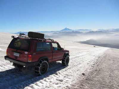 Jeep on glacier