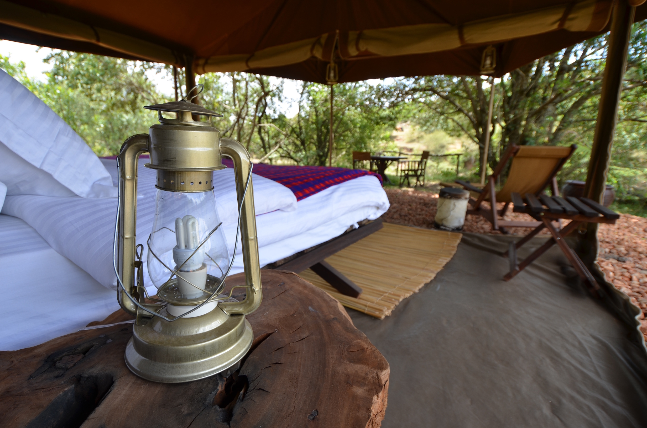 Safari tent with gas lamp
