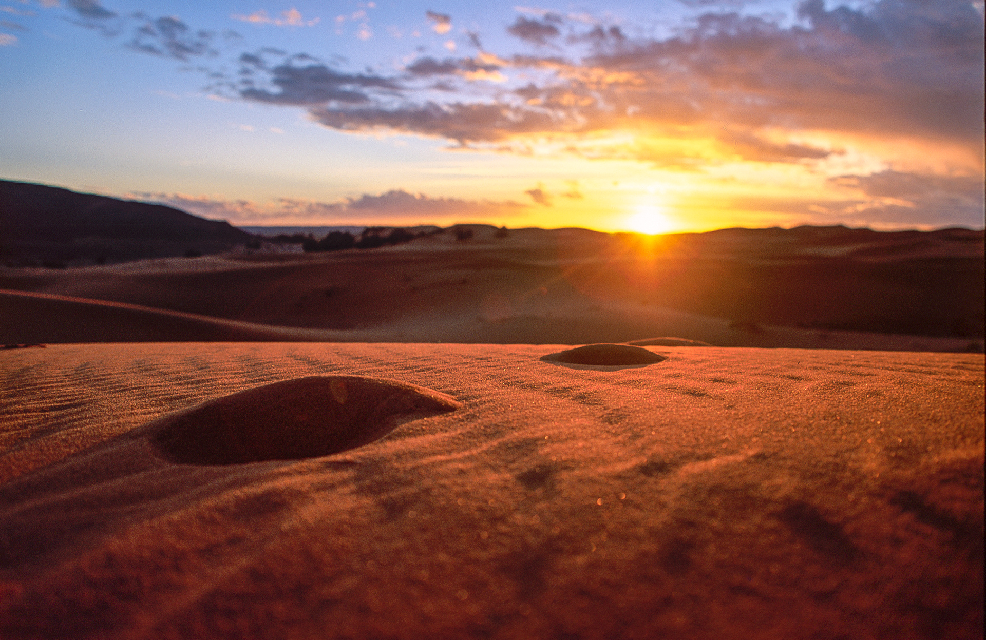 Sunset in the sand dunes of Erg Chebbi
