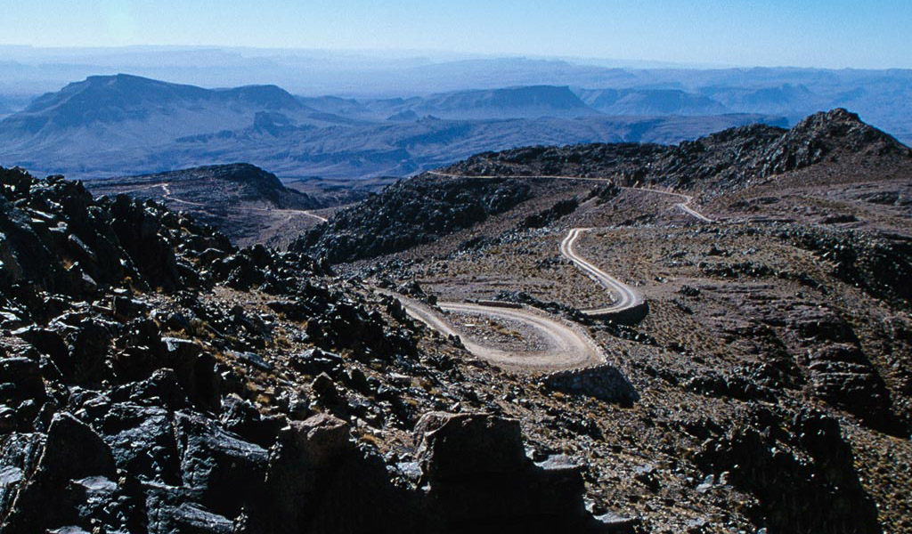 Winding Mountain Track in Morocco