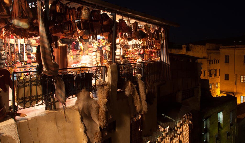 Tannery in Fes at night