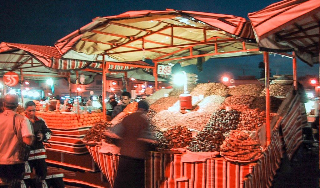 Market stall in souk at night