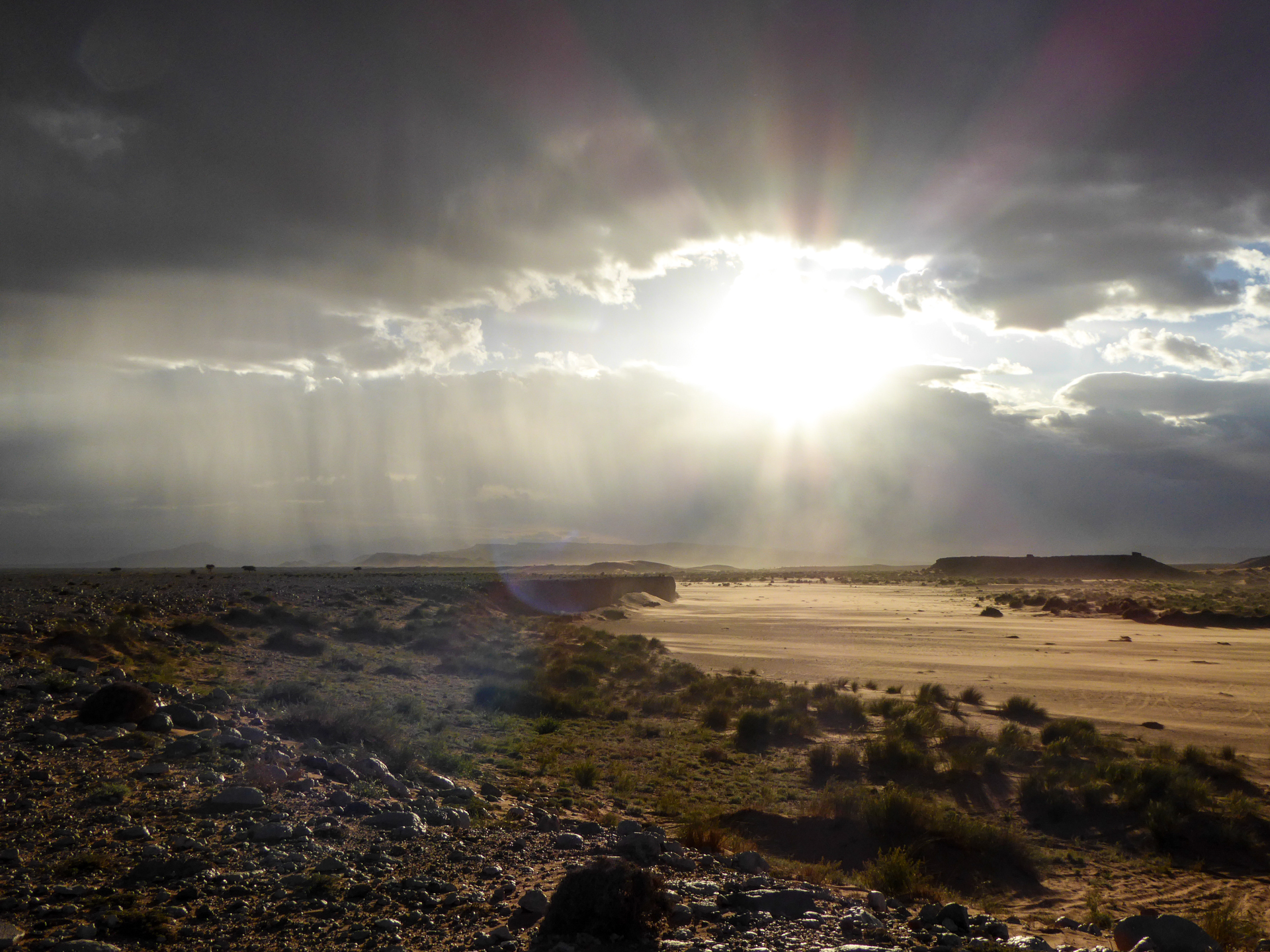 Sunset in rainstorm in the Sahara