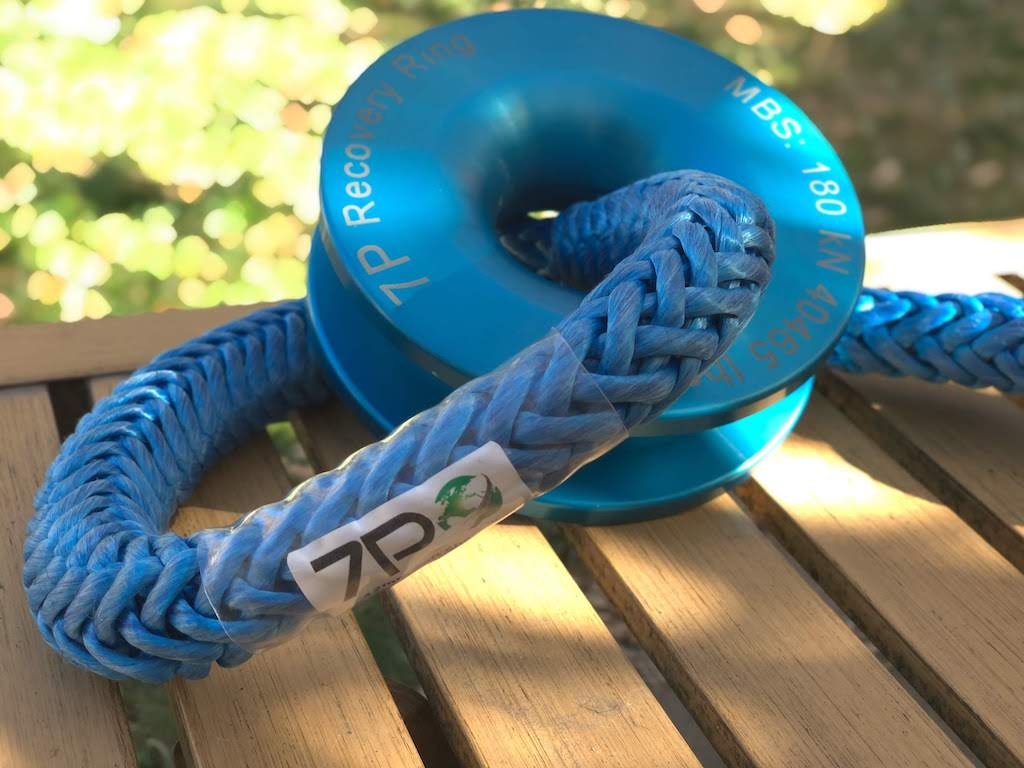 Blue Recovery Ring and soft shackle on table