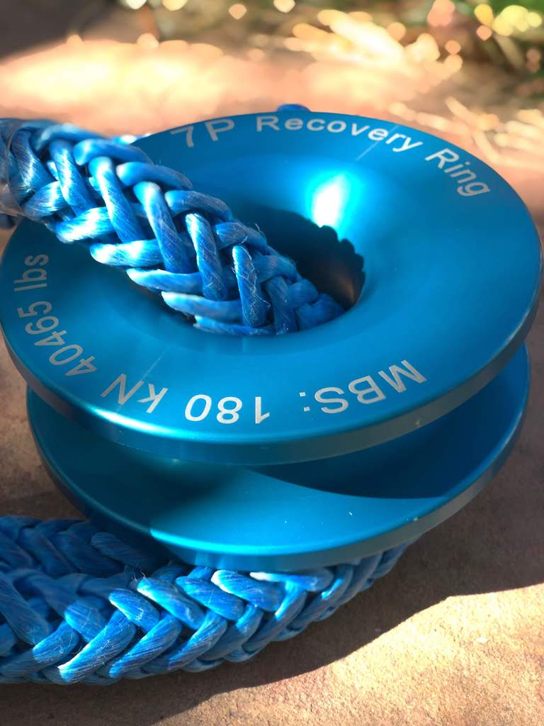Blue Recovery Ring and soft shackle on stone