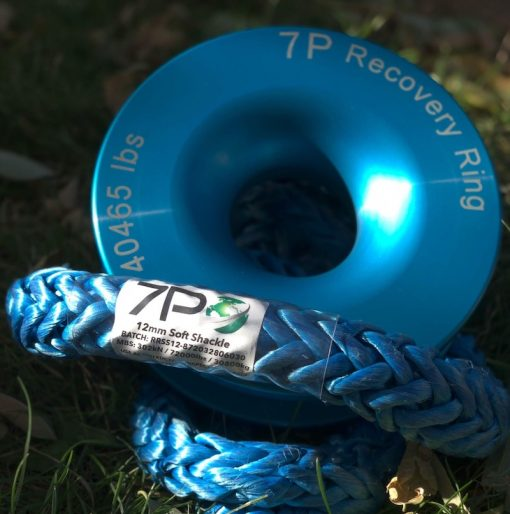 Blue Recovery Ring and soft shackle in grass