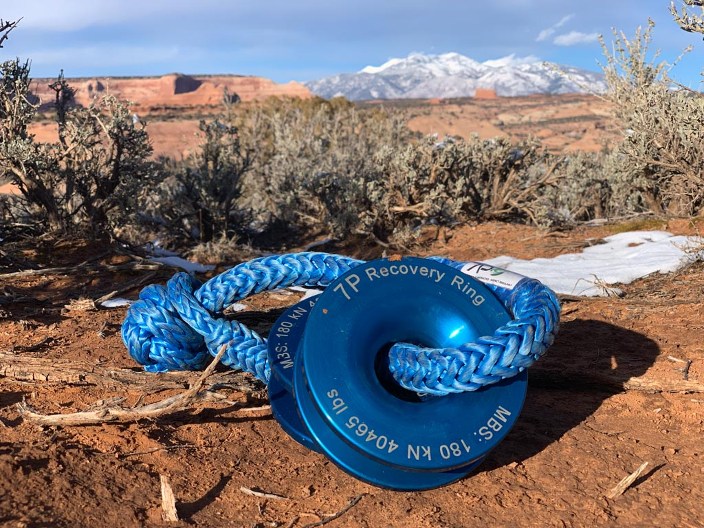 Two blue Recovery Rings, mountains in background